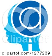 Clipart Of A Blue Silhouetted Womans Head In Profile With A Letter D In A Magnifying Glass Royalty Free Vector Illustration by Lal Perera