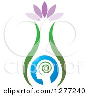 Clipart Of A Silhouetted Head With Petals And A Spiral In A Vase Royalty Free Vector Illustration
