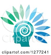 Clipart Of A Silhouetted Head With Gradient Petals And A Spiral Royalty Free Vector Illustration