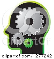 Clipart Of A Black Silhouetted Mans Head With Gears Royalty Free Vector Illustration by Lal Perera