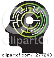 Clipart Of A Black Silhouetted Mans Head With A Green Maze Royalty Free Vector Illustration by Lal Perera