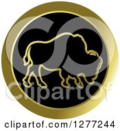 Clipart Of A Gold Outlined Buffalo On A Black Circle 2 Royalty Free Vector Illustration