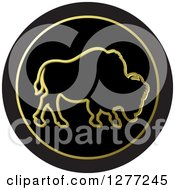 Clipart Of A Gold Outlined Buffalo On A Black Circle Royalty Free Vector Illustration