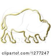 Clipart Of A Gold Outlined Buffalo Royalty Free Vector Illustration