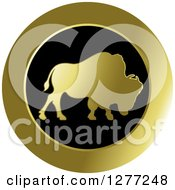 Clipart Of A Gold And Black Silhouetted Buffalo Icon Royalty Free Vector Illustration