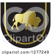Clipart Of A Gold And Black Silhouetted Buffalo Design Royalty Free Vector Illustration