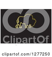 Clipart Of A Gold Outlined Buffalo On Black With Text Space Royalty Free Vector Illustration
