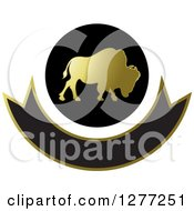 Clipart Of A Gold And Black Silhouetted Buffalo Icon Over A Blank Banner Royalty Free Vector Illustration