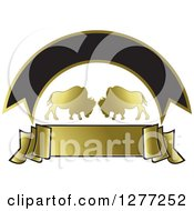 Clipart Of Gold Silhouetted Buffalo With Banners Royalty Free Vector Illustration