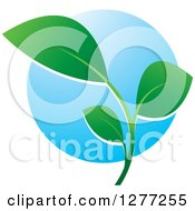 Clipart Of A Green Seedling Plant Over A Blue Circle Royalty Free Vector Illustration by Lal Perera