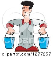 Clipart Of A Cartoon Worker Man Carrying Buckets Royalty Free Vector Illustration by Lal Perera