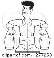 Clipart Of A Cartoon Black And White Worker Man Carrying Buckets Royalty Free Vector Illustration by Lal Perera