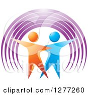 Clipart Of A 3d Orange And Blue Couple Dancing Under A Purple Arch Royalty Free Vector Illustration by Lal Perera