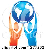 Clipart Of Blue And Orange People Holding Up A Blue Planet Earth Royalty Free Vector Illustration