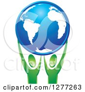 Clipart Of Green People Holding Up A Blue Planet Earth Royalty Free Vector Illustration