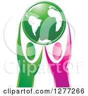 Clipart Of Green And Pink People Holding Up Planet Earth Royalty Free Vector Illustration