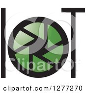 Clipart Of A Green Shutter In A Green And Black LOT Design Royalty Free Vector Illustration by Lal Perera