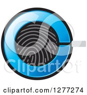 Clipart Of A Fingerprint And Blue Magnifying Glass Icon Royalty Free Vector Illustration