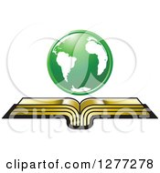 Clipart Of A Green Globe Over An Open Gold Book Royalty Free Vector Illustration