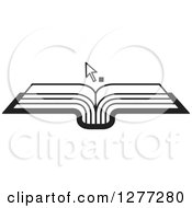 Clipart Of A Black And White Cursor Over An Open Book Royalty Free Vector Illustration by Lal Perera