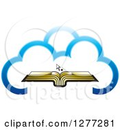 Clipart Of A Cursor Over An Open Gold Book In A Blue Cloud Royalty Free Vector Illustration by Lal Perera