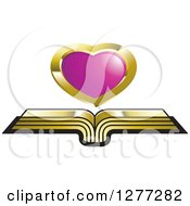 Clipart Of A Cursor Over An Open Gold Book Royalty Free Vector Illustration by Lal Perera