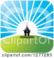 Clipart Of A White Sunrise Over Hills And Pen Tip Royalty Free Vector Illustration