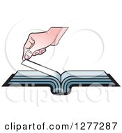 Clipart Of A Caucasian Hand Turning A Book Page Royalty Free Vector Illustration by Lal Perera