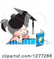 Clipart Of A Thinking School Girl Wearing A Hat And Looking At A Book Royalty Free Vector Illustration