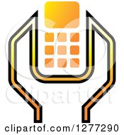 Clipart Of A White Black And Yellow Wrench And Cell Phone Settings Icon Royalty Free Vector Illustration by Lal Perera