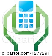 Clipart Of A Green Blue And White Wrench And Cell Phone Settings Icon 2 Royalty Free Vector Illustration by Lal Perera