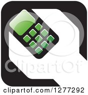 Black White And Green Wrench And Cell Phone Settings Icon