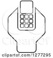 Clipart Of A Black And White Wrench And Cell Phone Settings Icon Royalty Free Vector Illustration by Lal Perera