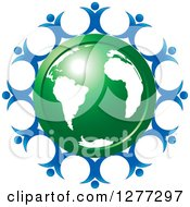 Clipart Of A Shiny Green Earth Encircled With Happy Blue People Royalty Free Vector Illustration