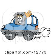 Clipart Picture Of A Garbage Can Mascot Cartoon Character Driving A Blue Car And Waving