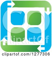 Clipart Of A Blue And Green Square Of Arrows Around Tiles Royalty Free Vector Illustration by Lal Perera