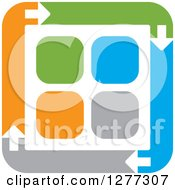 Clipart Of A Blue Gray Orange And Green Square Of Arrows Around Tiles Royalty Free Vector Illustration by Lal Perera