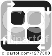 Clipart Of A Black And Gray Square Of Arrows Around Tiles Royalty Free Vector Illustration by Lal Perera