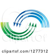 Clipart Of A Blue And Green Swoosh Arrows Royalty Free Vector Illustration by Lal Perera