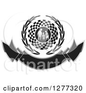 Clipart Of A Silver Family Holding Hands In A Checkered Flag And Wreath Over A Banner Royalty Free Vector Illustration by Lal Perera