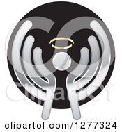 Clipart Of A Silver Angel On A Black Icon Royalty Free Vector Illustration by Lal Perera