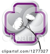 Clipart Of A Silver And Purple Cross And Cotton Plant Royalty Free Vector Illustration