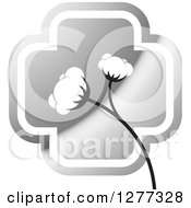 Clipart Of A Silver Cross And Cotton Plant Royalty Free Vector Illustration