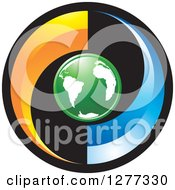 Clipart Of A Round Black Orange And Blue Icon With A Green Earth Royalty Free Vector Illustration