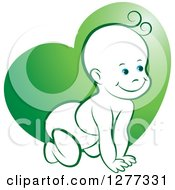 Clipart Of A Happy Crawling Baby Over A Green Heart Royalty Free Vector Illustration