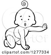 Clipart Of A Surprised Black And White Baby Crawling In A Diaper And Reaching Out Royalty Free Vector Illustration