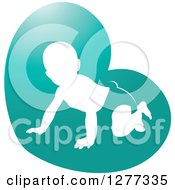 Clipart Of A White Silhouetted Baby Crawling In A Diaper In A Turquoise Heart Royalty Free Vector Illustration by Lal Perera
