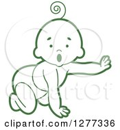Clipart Of A Surprised Green Baby Crawling In A Diaper And Reaching Out Royalty Free Vector Illustration