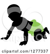 Clipart Of A Black Silhouetted Baby Crawling In A Green Diaper Royalty Free Vector Illustration by Lal Perera