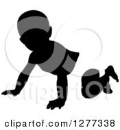 Clipart Of A Black And White Silhouetted Baby Crawling In A Diaper Royalty Free Vector Illustration